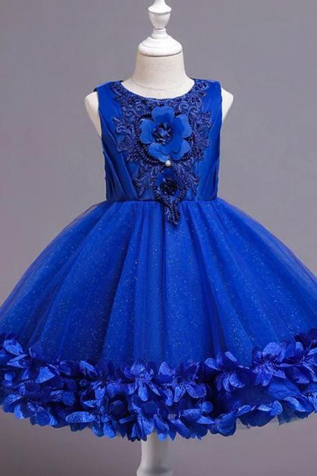 RSSLyn Royal Blue for Royalty Girls Pageant Sparkly Blue Beaded Dress Free Crown for Girls-Royal Blue Outfit for Girls-Free Crown