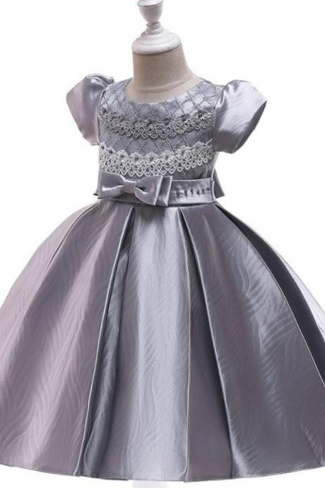 RSSLyn Solid Silver Dresses Same As Picture Short Sleeves Dress for Girls with Silver Bow Free Crown