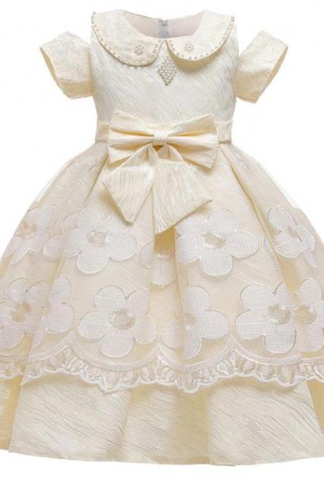 RSSLyn Peterpan Collared Dresses for Girls Same As Picture Short Sleeves Dress for Girls Free Crown-Ivory Tutu Dresses