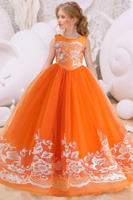 RSSLyn Girls Orange Dresses Free Crown for Teenage Girls New Ballgown Dress Floor Length RCP20219-Tween Girls Birthday Party Gown