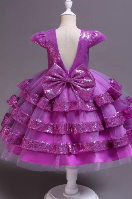 RSSLyn Magenta Dress Luxury Style Purple Dresses for Girls Birthday Outfit Sequined Backless Dresses-Birthday Girls Dresses