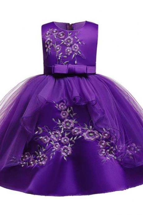 RSSLyn Baby Knee Length Dress for Girls Sleeveless Purple Dress for Girls Free Tiara 3T,4T,5T Flower Girls Dress