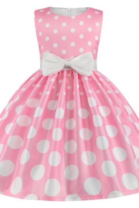 RSSLyn Pink Satin Polka Dots Dresses for Girls Knee-Length Birthday Outfit 4t,5t,6t Girls Free Tiara-Birthday Party Quinceañera Party Dress