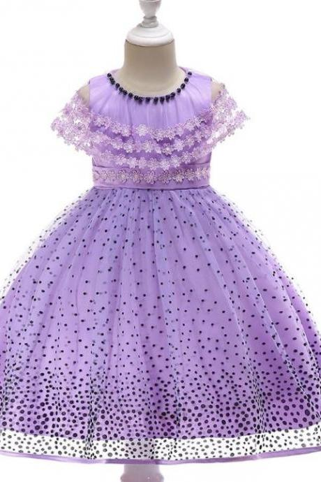 RSSLyn Lavander Polka Dots Dresses for Girls Bolero Shawl 4t,5t,6t,7t Girls Free Tiara-Dress with Bolero-Girls Polka Dot Dress