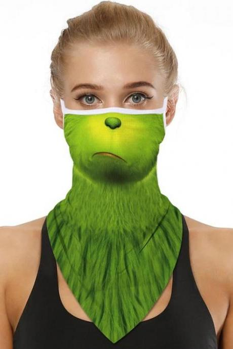 RSSLyn Unisex Christmas Masks for Men and Women Pouting Grinch Balaclava Ready to Ship From The USA-Unisex Neckerchief