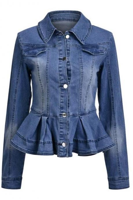 RSSLyn Ruffled Denim Jackets Slim Fit Denim Lovers Western New Design Large Size Jackets for Women-Slimming Jackets