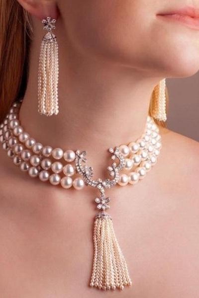 Luxury Jewelry Set for Elegant Women Wedding Gift Bridal Set Triple Layers of Real Pearls-Natural Pearl Jewelry Set for Women