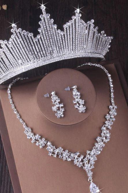 RSSLyn 3pc/SET Birthday Party Jewelries for Women-Sparkling Crown Pretty Choker and Earrings Birthday Party Jewelry Set-Princesses Crowns-Quinceañera Party