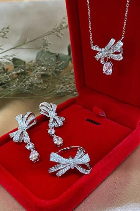 RSSLyn FREE Designer Brooch for Luxury Jewelry Set Bows Jewelries High Grade AAA Zirconia 925 Sterling Silver-Birthday Party Jewelry Set-Princesses Jewelries-Quinceañera Party