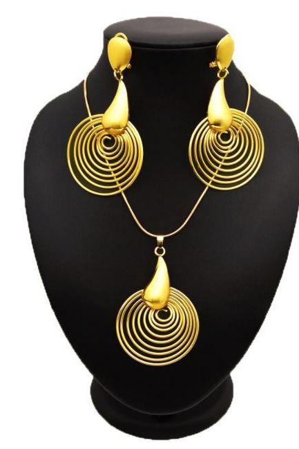 RSSLyn 2pcs/SET Golden Spirals New Jewelry Set RudelynsSarisariStore.com African Golden Jewelries-Birthday Party Jewelry