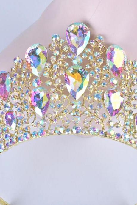 Tiaras New RSSLyn Undeniable Bridal Crowns AB Colors Large Beads Sparkling Tiaras for Women Golden Headpieces with Comb-Golden Tiaras for Women