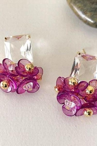 RSSLyn New Minimalist Earrings Lovely Floral Purple Earrings for Women Wholesale Earrings-Pink Magenta Color Earrings