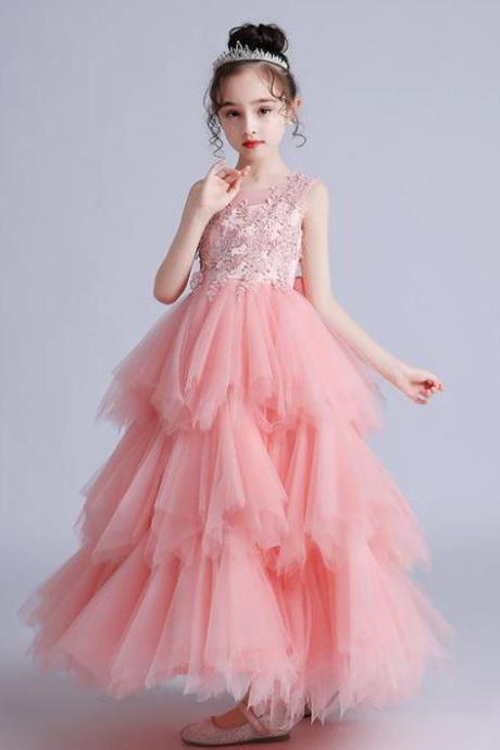 RSSLyn Elegant Pink Maxi Dress for Teen Girls Summer Lace Dress Long Tulle Free Tiara for Girls-Sleeveless Pink Pageant Dress-Pink Tiered Formal Dress for Girls