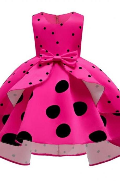 RSSLyn Classy Dresses for Toddler Girls Hotpink Formal Dress for Girls Free Tiara Polka Dots Dress-Hotpink Dress for 5T Girls-Polka Dots Formal Dress for Tween Girls