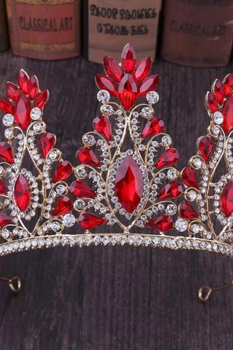 RSSLyn Red Tall Crowns for Women Red Crystal Tiaras for All Ages Fashion Crowns for Birthday Girls-Tall Tiaras for Women-Red Beaded Crowns-Pageant Crowns