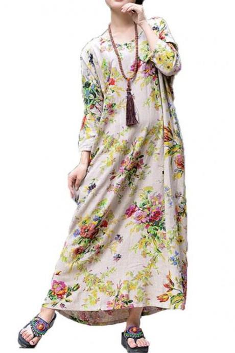Beige Dresses Linen Maxi Dress for Women Summer Dress for Plus Size Women Printed Linen Dresses 7XL,8XL