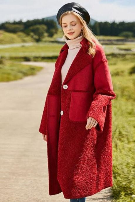 RSSLyn Lambs Wool Plus Size Clothes for Women Single Breasted Fashion Red Coats FREE DESIGNER BROOCH-Sizes 5XL-10XL Winter Coats-Size 24 Winter Coats