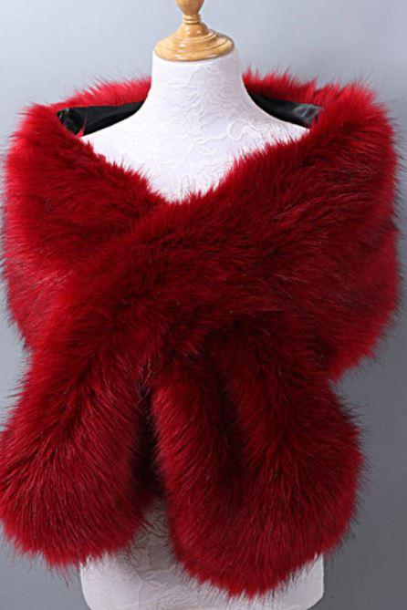 Rsslyn Elegant Shawl for Elegant Lady Red Bolero Motif Occasion Faux Fur Red Shawl Winter Accessories-Red Body Wraps for Winter-Bridesmaids Bolero-Bridesmaids Shawls