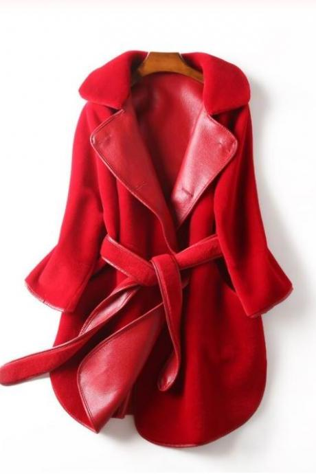 Rsslyn 2-Sided Reversible Leather Coats Real Leather Jackets for Women Free Designer Brooch Sheepskin Red Leather Jacket