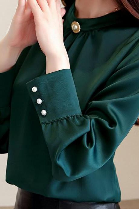 Elegant Soft Blouses for Women Dark Green Silk Blouses for Women