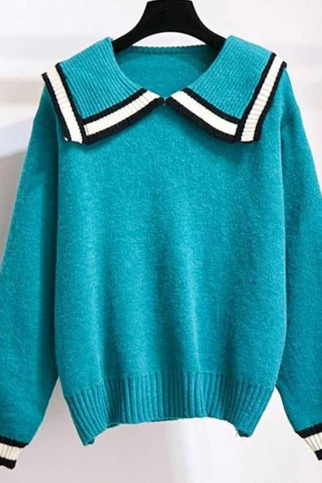 RSSLyn Blue Blouses for Women-Collared Blue Knitted Blouse- Solid Turquoise Blue Tops for Women-Winter Blouses