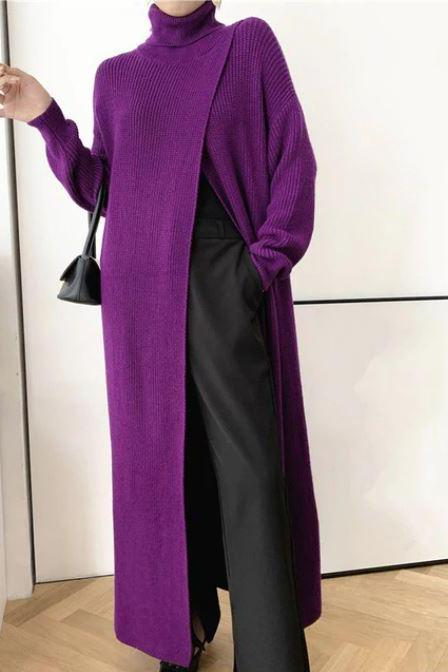 RssLyn Purple Trench Coats-Purple Turtleneck Sweater for Women Purple Cardigan with Front Slits Purple Knitted Sweaters