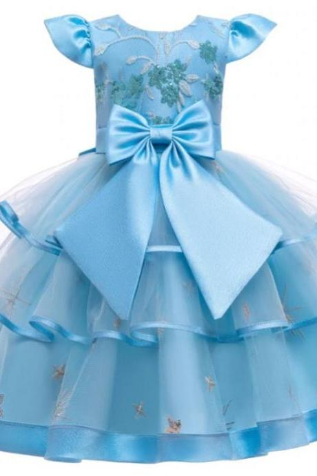 RSSLyn New Little Girls Blue Dress with Embroidered Stars Blue Dress for Thumbelina Girls Free Tiara-Blue Tiered Dresses for Teenage Girls Tutu Dress Pageant Dresses