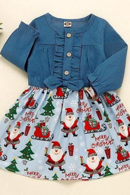 RSSLyn Denim Christmas Dress for Toddler Girls Casual Christmas Dress for Infant Christmas Tutu Dresses with Free Christmas Headbands for Little Girls Denim Dress for 12 Months