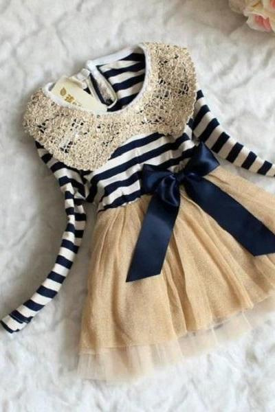 RSSLyn Newborn Baby Dress for Thanksgiving Ready for Shipping 2-4 Months Navy Blue Baby Dress Peter Pan Striped Dress-Free Headband