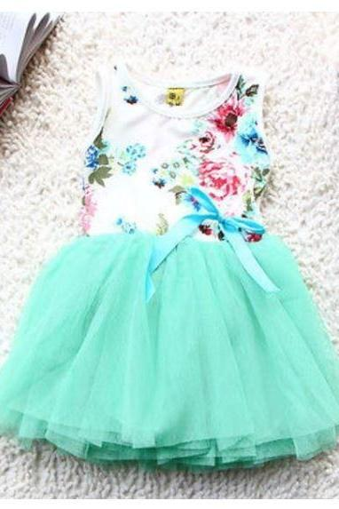 Mintgreen Dresses for Girls Fashion Dresses Summer and Spring Sleeveless Dress 9-12 Months Dresses