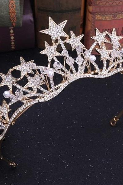 Rsslyn Golden Star Tiara for All Ages Golden Crowns Pageant Birthday Headpiece for Girls Hair Accessories