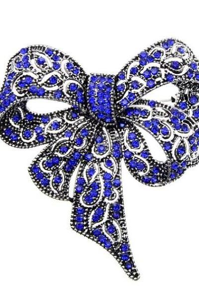 Rsslyn Large Bowknot Brooches for Women and Men Vintage Royal Blue Brooches and Pins Wedding Christmas Bows Pageant Accessories