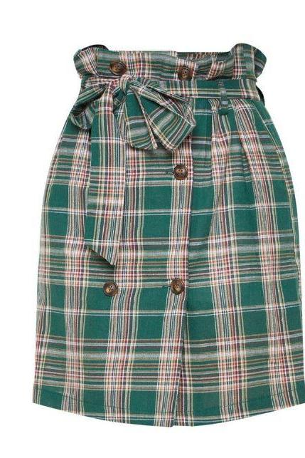 Checkered Skirts for Teenage Girls Plaid Stretchable Waist Skirts for Women