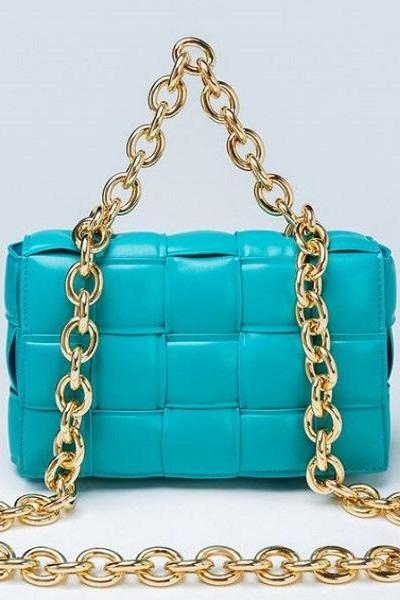 Rsslyn Large Golden Chains Turquoise Crossbody Bags for Women Fashion Basket Weave Leather Shoulder Bags for Ladies
