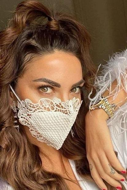 RSSLyn Bridal Masks White Lacy Masks Heart Pattern Solid Color Hearts White Face Masks for Women