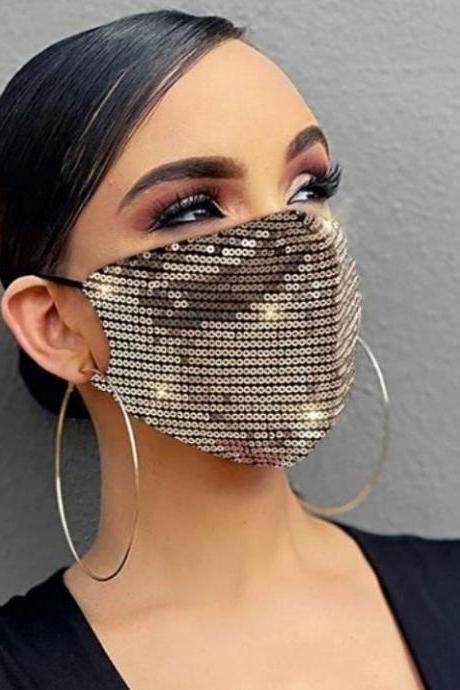 RSSLyn Sequined Mask Breathable Golden Mask for Formal Casual Double Layer Sparkly Mask for Women