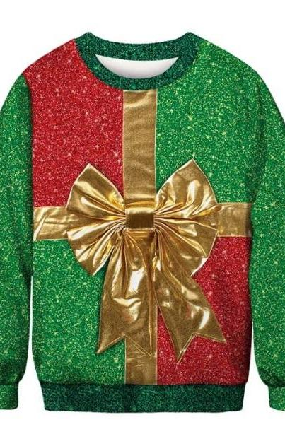Rsslyn Merry Christmas Sweaters for Men and Women Unisex Sweaters Green Sweaters with Golden Bow