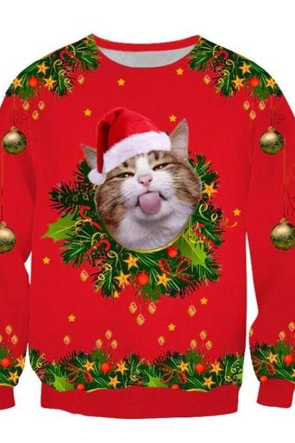 Rsslyn Cat Merry Christmas Sweaters for Men and Women Unisex Sweaters Red Sweaters with Cat and Bows