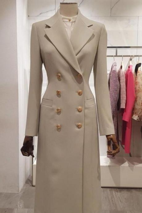 Rsslyn Luxury Manager Women Trench Coats Classy Trench Coats with Free Designer Brooch Ivory Beige Coats for Women
