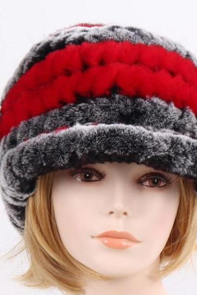 Rsslyn Newsboy Hats Black-Red Color Rose Pattern 100% Genuine Rex Rabbit Fur Winter Hats New Arrival Stripe Rex Rabbit Fur