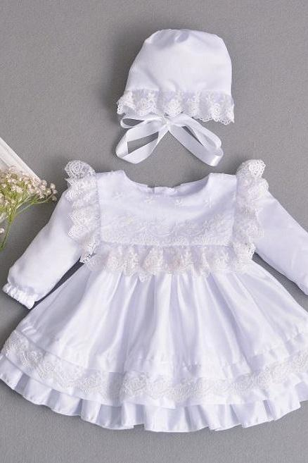 SALE! White Dress for Newborn Baby Girls with Free White Baby Shoes Baptism Dress with Matching White Bonnet