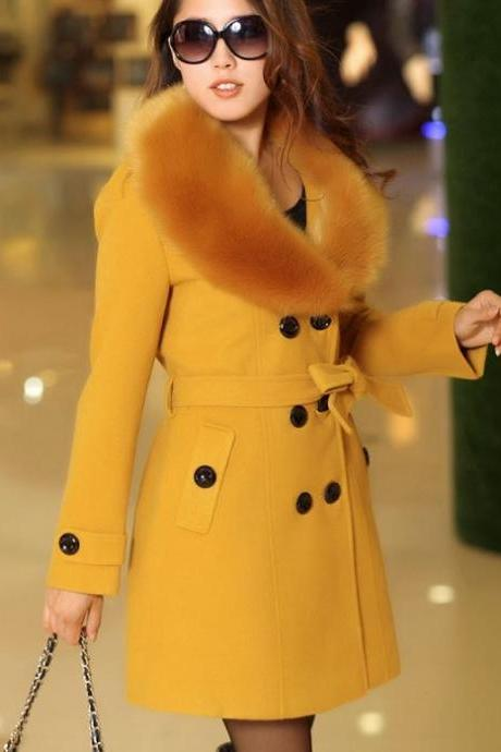 Rsslyn Golden Yellow Coats for Women With Free Designer Brooch
