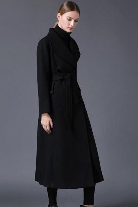 Rsslyn Black Long Trench Coats for Women With Free Designer Brooch