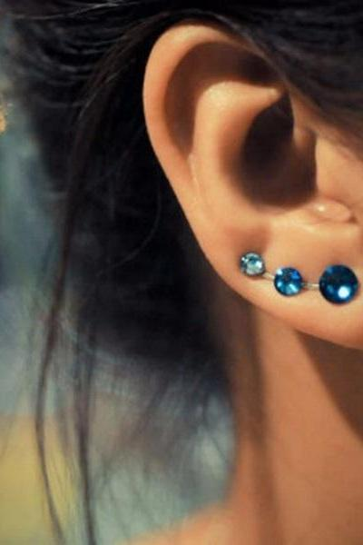 Rsslyn Now a Trend Blue Ear Cuff Blue Earrings for Women with Three Small Stones