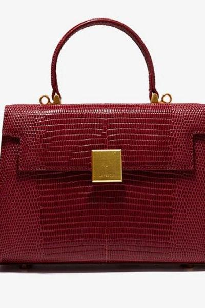 Rsslyn Authentic Leather Bags for Women with Free Designer Brooch Red Handbags for Luxury Women