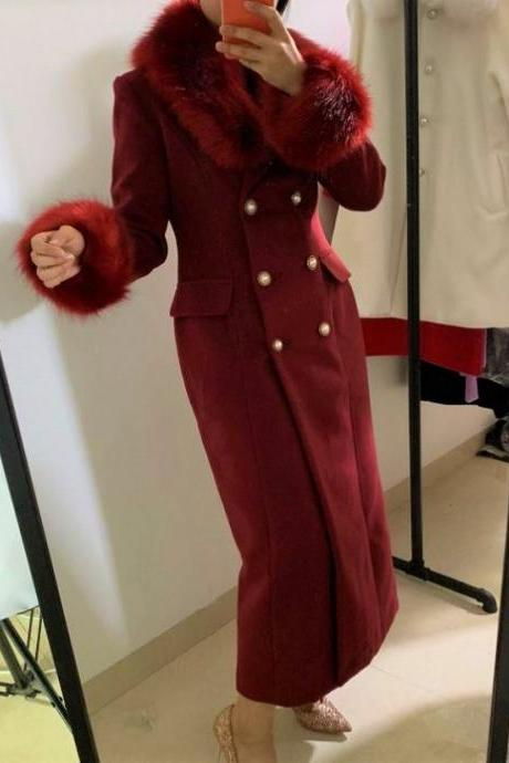 Rsslyn Double Breasted Burgundy Trench Coats with 2pcs FREE Designer Brooches Wool Real Fox Fur Collared