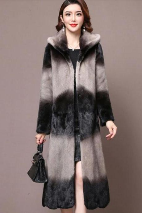 Rsslyn Guaranteed Mink Fur Coats 2pcs FREE Designer Brooches Leisure Coats Plus Sizes Hooded Overcoats