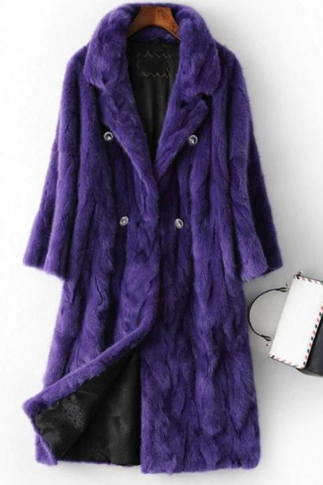 Rsslyn Womens Luxury Overcoats with 3pcs FREE Designer Brooches Real Mink Fur Purple Winter Coats