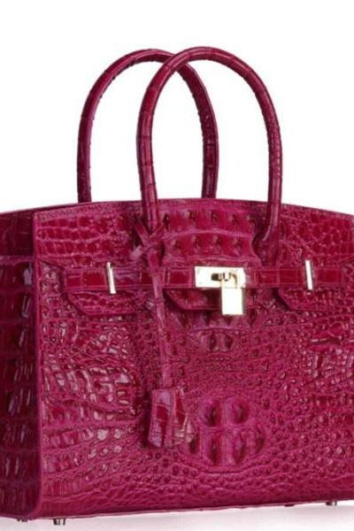 Rsslyn Magenta Leather Bags Large Bags for Women with Free Designer Brooches