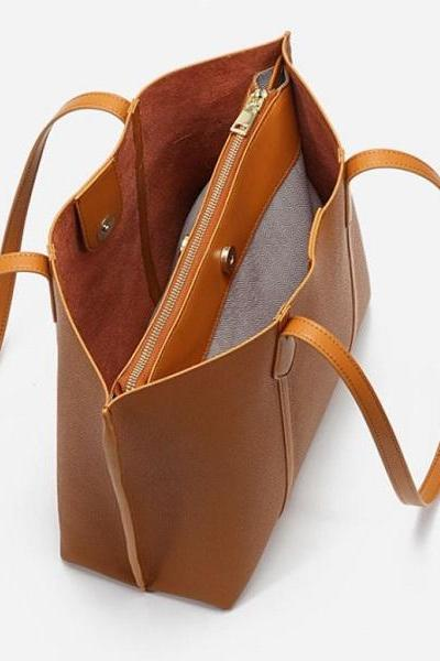 Rsslyn Raw Leather Solid Brown Leather Bags with Free Brooch Hand Brown Totes